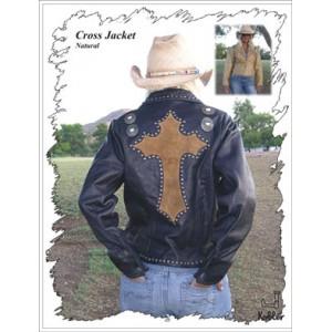 Leather Jacket w/Cross on Back