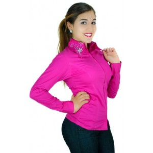 Rhinestone Zip Up Fitted Shirt