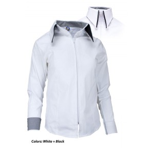 Zip Up Fitted Double Collar Show Shirt