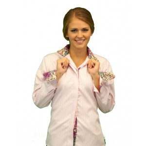 Wrap Collar Shirt w/Animal Print Lining